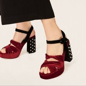 Zara velvet studded block heel
